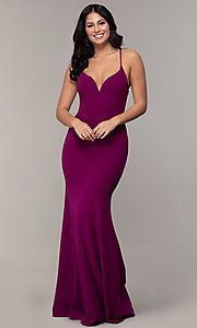 Image of caged-open-back long mermaid sweetheart prom dress. Style: MCR-PL-2810 Back Image