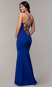 Image of caged-open-back long mermaid sweetheart prom dress. Style: MCR-PL-2810 Detail Image 2