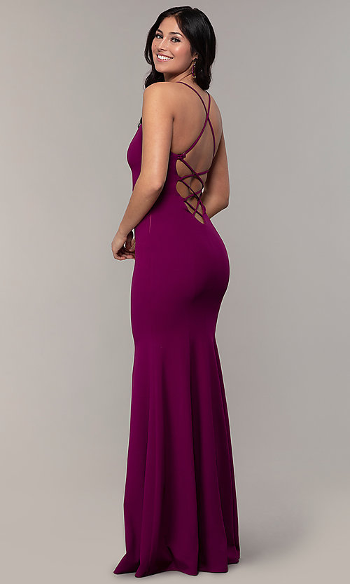 Image of caged-open-back long mermaid sweetheart prom dress. Style: MCR-PL-2810 Front Image
