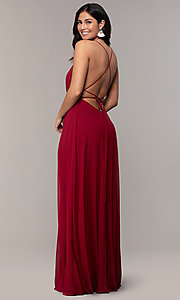 Image of long deep-v-neck backless prom dress. Style: MCR-PL-3065 Front Image
