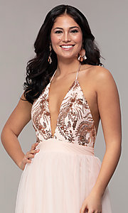 Image of v-neck long prom dress with sequin halter bodice. Style: MCR-PL-2802 Detail Image 1