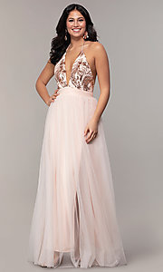 Image of v-neck long prom dress with sequin halter bodice. Style: MCR-PL-2802 Detail Image 3