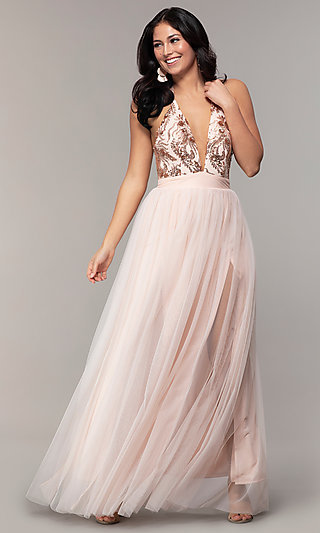 V-Neck Long Prom Dress with Sequin Halter Bodice