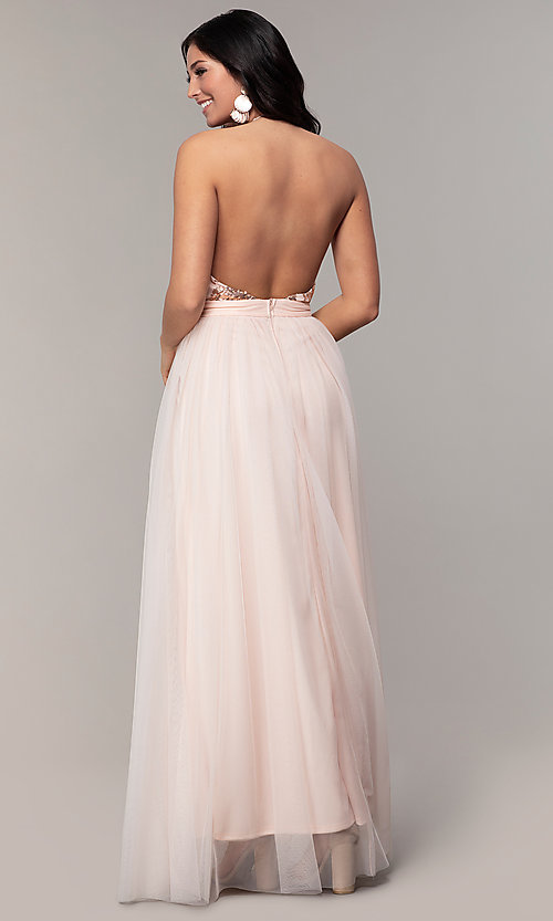 Image of v-neck long prom dress with sequin halter bodice. Style: MCR-PL-2802 Back Image