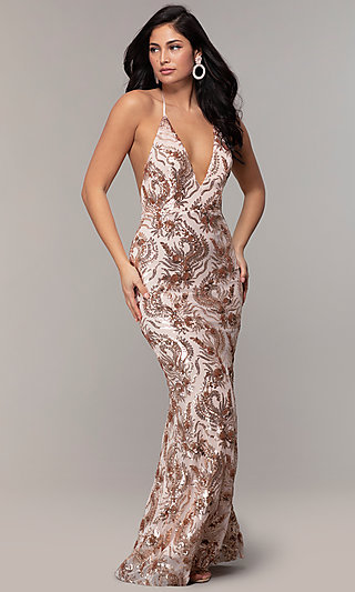 Long V-Neck Halter Sequin-Mesh Formal Dress