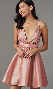 Image of open-back v-neck short babydoll party dress. Style: LUX-LD5325 Front Image