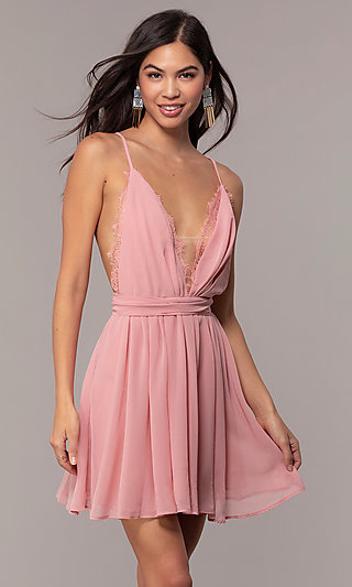 Short Graduation Party Dress in Blush Pink
