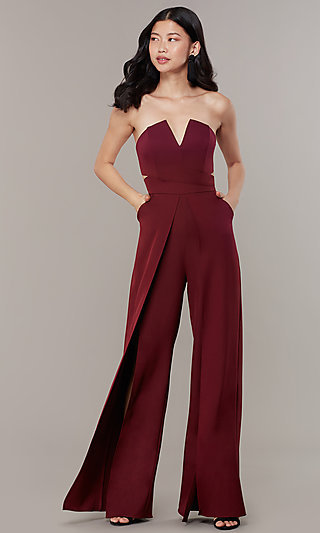 Strapless Long Jumpsuit with Wide Wrap Legs