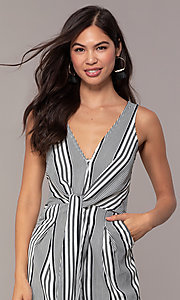 Image of striped cropped-leg jumpsuit for parties. Style: BLU-IBR1453-1 Detail Image 1