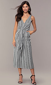 Image of striped cropped-leg jumpsuit for parties. Style: BLU-IBR1453-1 Detail Image 3