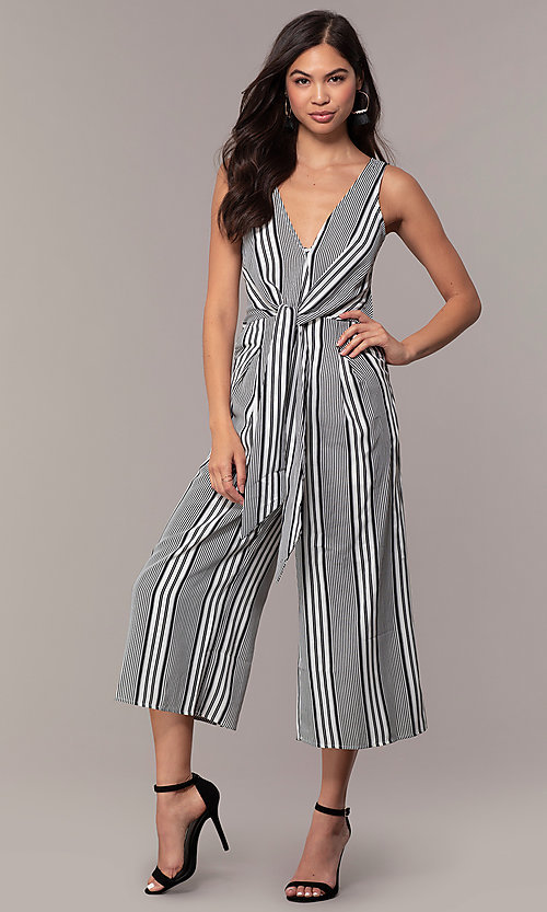 Image of striped cropped-leg jumpsuit for parties. Style: BLU-IBR1453-1 Front Image