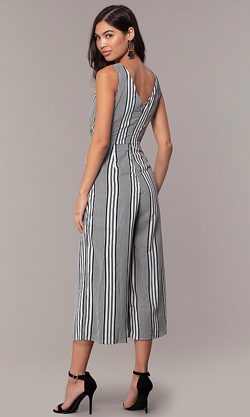 Image of striped cropped-leg jumpsuit for parties. Style: BLU-IBR1453-1 Back Image