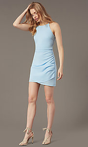 Image of high-neck satin wedding-guest short party dress. Style: STO-JD1786C Detail Image 4