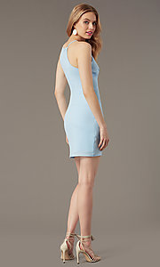 Image of high-neck satin wedding-guest short party dress. Style: STO-JD1786C Detail Image 5