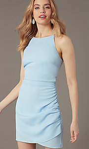 Image of high-neck satin wedding-guest short party dress. Style: STO-JD1786C Detail Image 6