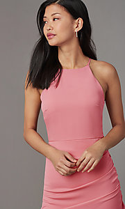 Image of high-neck satin wedding-guest short party dress. Style: STO-JD1786C Detail Image 1