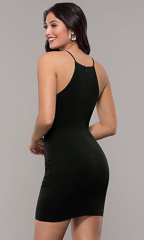 Image of high-neck satin wedding-guest short party dress. Style: STO-JD1786C Back Image