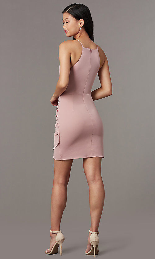 Image of high-neck satin wedding-guest short party dress. Style: STO-JD1786C Detail Image 2