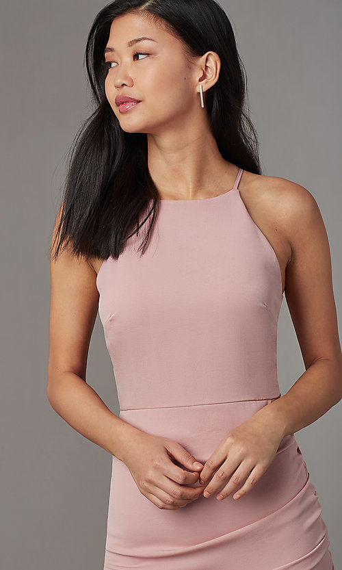 Image of high-neck satin wedding-guest short party dress. Style: STO-JD1786C Detail Image 3