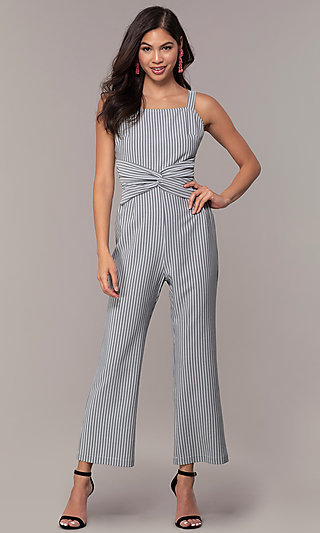Cropped Leg Striped Jumpsuit for Parties