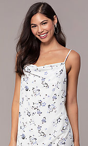 Image of cowl-neck print short shift grad party dress. Style: STO-JD1823A Detail Image 1