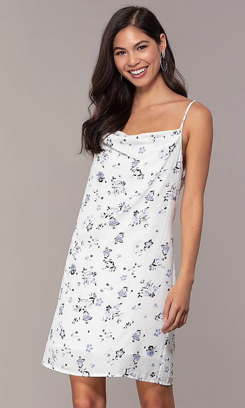 Image of cowl-neck print short shift grad party dress. Style: STO-JD1823A Front Image