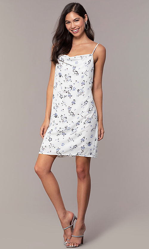 Image of cowl-neck print short shift grad party dress. Style: STO-JD1823A Detail Image 3