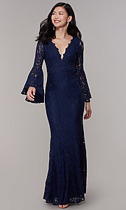 Image of mother-of-the-bride long lace dress with sleeves. Style: LP-25639 Detail Image 3