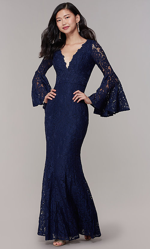 Image of mother-of-the-bride long lace dress with sleeves. Style: LP-25639 Front Image