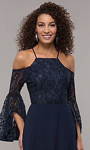 Image of lace-bodice sleeved long mother-of-the-bride dress. Style: LP-25858 Detail Image 1