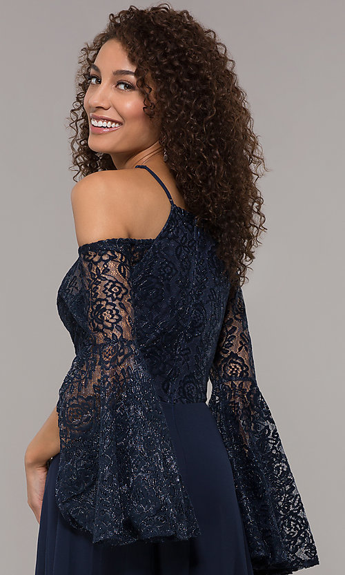 Image of lace-bodice sleeved long mother-of-the-bride dress. Style: LP-25858 Detail Image 2
