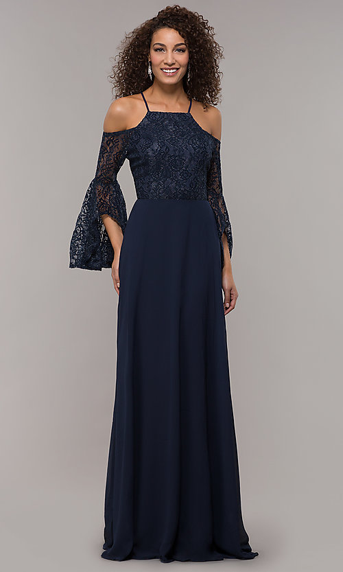 Image of lace-bodice sleeved long mother-of-the-bride dress. Style: LP-25858 Detail Image 3