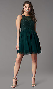 Image of tulle short formal dress with embroidery. Style: LP-25459 Front Image