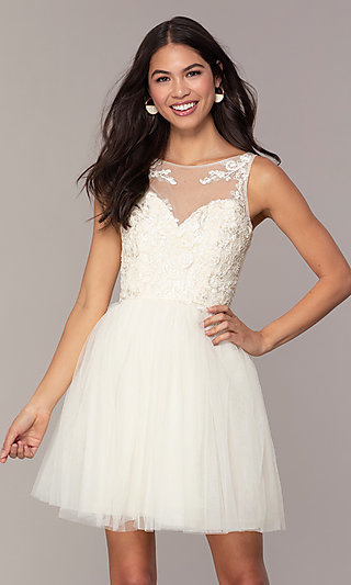 Tulle Short Formal Dress with Embroidery