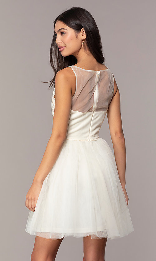 Image of tulle short formal dress with embroidery. Style: LP-25459 Back Image