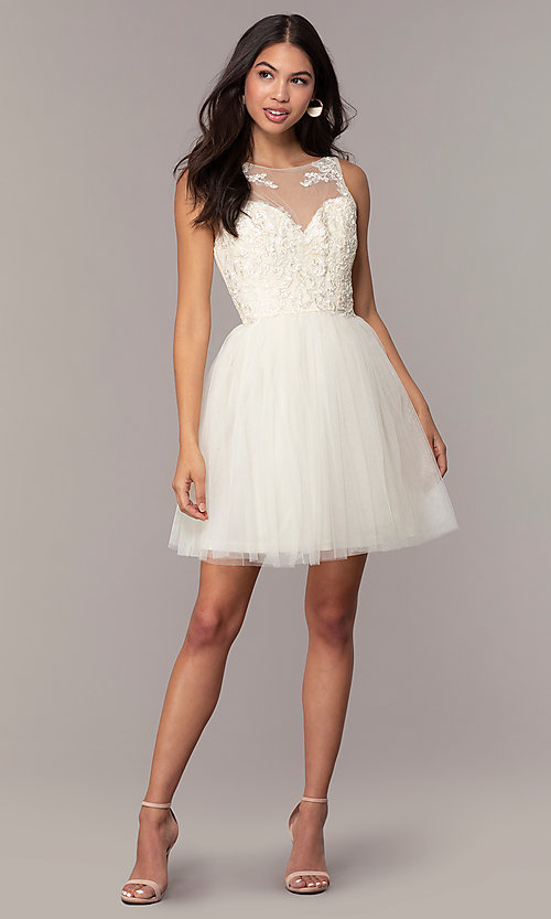Image of tulle short formal dress with embroidery. Style: LP-25459 Detail Image 3