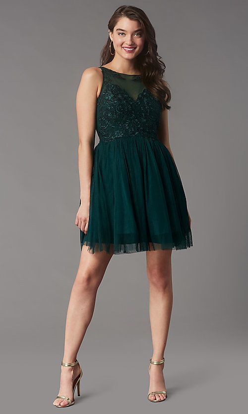 Image of tulle short formal dress with embroidery. Style: LP-25459 Detail Image 4