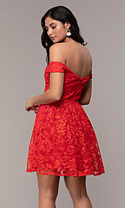 Image of embroidered-mesh off-the-shoulder short party dress. Style: LP-25731 Back Image