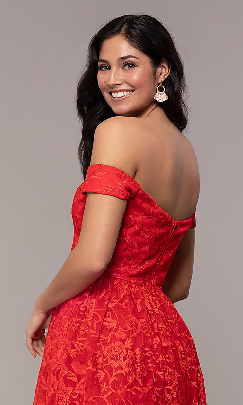 Image of embroidered-mesh off-the-shoulder short party dress. Style: LP-25731 Detail Image 2