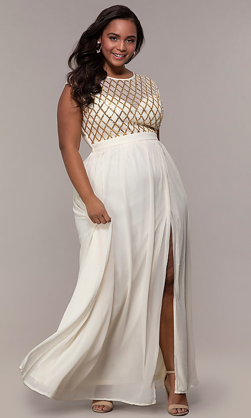 a8a06f7c847 Sheer Sequin Design Bodice Long Plus-Size Prom Dress