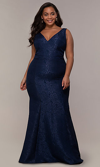 a1ce1437215c27 Plus-Size Long Mermaid-Style Prom Dress
