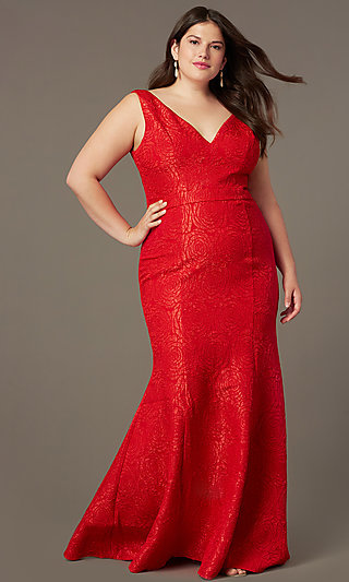 Plus-Size Long Mermaid-Style Prom Dress