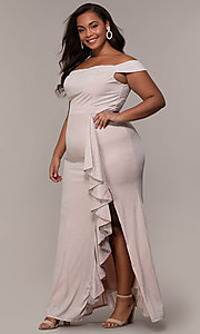 Image of long off-shoulder formal plus dress with ruffles. Style: LP-25178P Detail Image 3
