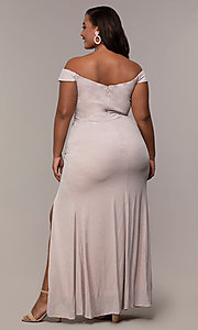 Image of long off-shoulder formal plus dress with ruffles. Style: LP-25178P Back Image
