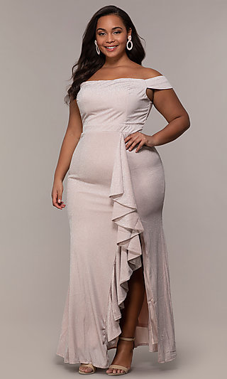 819b4fdbcebf7 Long Off-Shoulder Formal Plus Dress with Ruffles