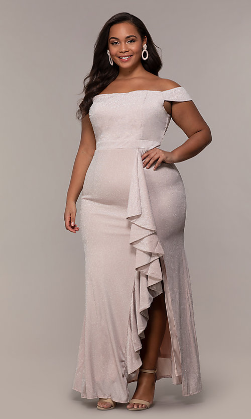 Image of long off-shoulder formal plus dress with ruffles. Style: LP-25178P Front Image