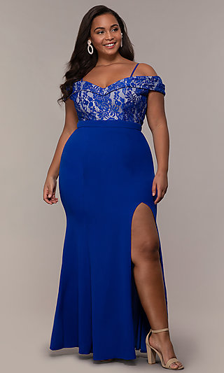 Off Shoulder Lace Bodice Plus-Size Long Prom Dress