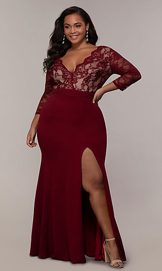 Lace V-Neck Bodice Long Plus-Size Prom Dress