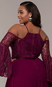 Image of sleeved cold-shoulder long plus-size formal dress. Style: LP-25858P Detail Image 2