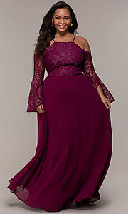 Image of sleeved cold-shoulder long plus-size formal dress. Style: LP-25858P Detail Image 3